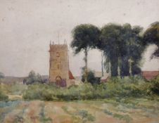"Attributed to Thomas Churchyard (1798-1865) British. A Village Church, Watercolour, 8"" x 10.25"" ("