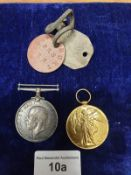 2 WW1 Medals to Include dog tags Pte J Burt S22038 Royal Highlanders.