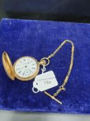 Gold Plated Pocket Watch From Fenton Watch Co America With Albert Chain
