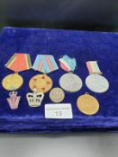 Selection of medals To Include Russian, George and Mary ECT