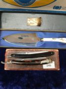 2 Cut Throat Razors and Coalport Serving Cake Slice.