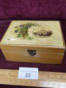 Mauchline ware box depicting Edinburgh Castle from grass Market.