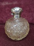 Silver Hall marked topped perfume bottle.