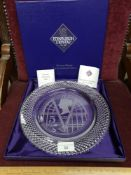 Boxed large Edinburgh Crystal victorian anniversary plate with presentation box.