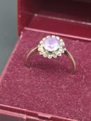 Hallmarked Birmingham 375 Gold and Amethyst Stoned Ring (Size P).