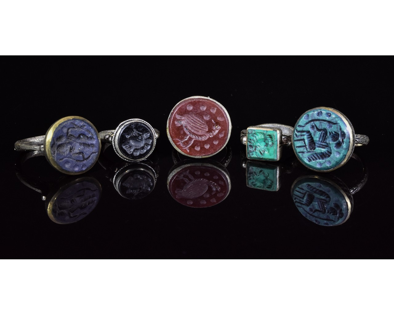 Lot 34 - COLLECTION OF FIVE TRIBAL RINGS