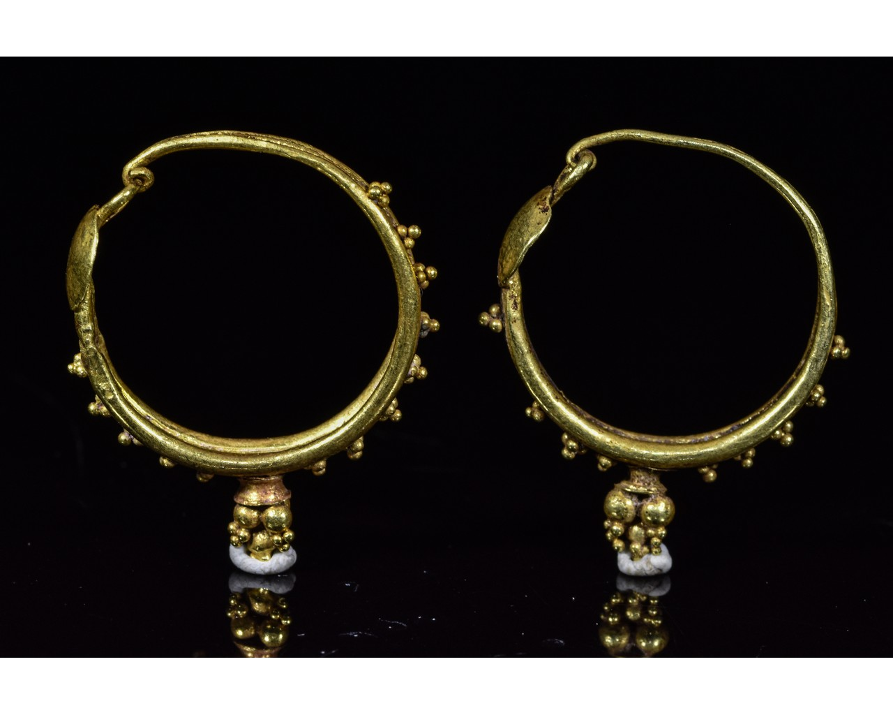 Lot 43 - ROMAN GOLD EARRINGS WITH GRANULATION