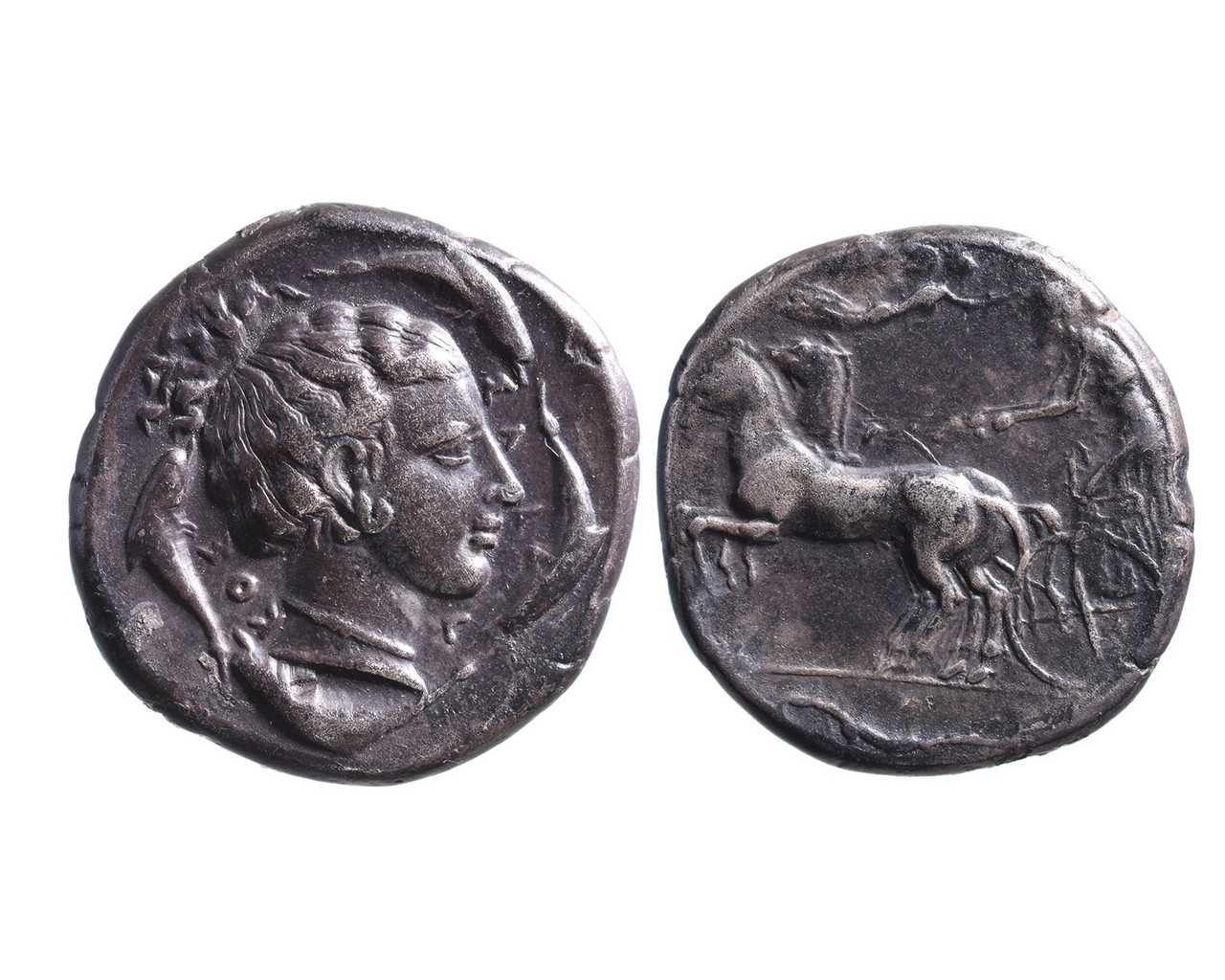 Ancient Greek AR tetradrachm Syracuse.