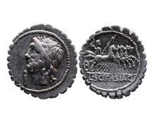 Ancient Roman Republican AR denarius serratus