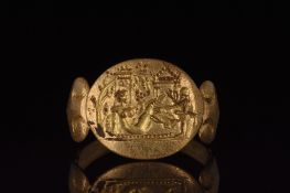 HELLENISTIC GOLD RING WITH LEDA AND THE SWAN - XRF TESTED