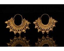 GREEK HELLENISTIC GOLD FILIGREE EARRINGS