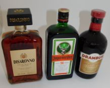 13 Bottles to Include; 6 Disaronno, 700ml, 4 Jagermeister 0.7l & 3 Drambuie Isle of Skye Liqueur,