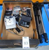 9 Various Digital Cameras, Polaroid 1200 FF Camera, Vivitar DVR810H Video Camera & 3 Various