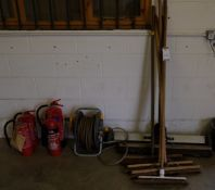 5 Various Brushes, Trolley, Hose Reel, 4 Various Fire Extinguishers (Located Bicester, See General