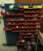 Wall Mounted Parts Rack to Include:- Various Bins & Contents (Located Northampton, See General Notes