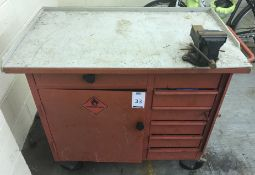 Workshop Trolley Bench to Include Quantity of Various Hand Tools (Located Northampton, See General