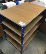 Five Light Weight Shelve Workbenches, Four Tiers Light Weight Racking Bay & Three Tier Steel