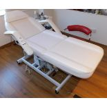 White Leather Treatment Bed & Trolley of Assorted Consumables (Located Corby – See General Notes for