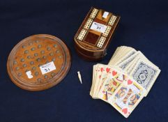 19th Century marquetry inlaid mahogany playing card box peg board with bone insets, together with