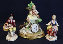A pair of continental probably German porcelain figurines of a young lady seated with flowers and