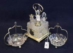 Silver plated and glass four piece cruet set on stand, together with two similar glass bon-bon