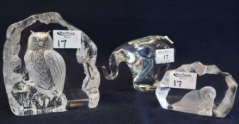 Heavy glass paperweight in the form of an elephant, together with two glass intaglios, one of an