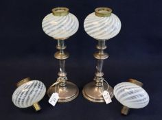 Pair of EPNS candlestick design lamp bases with two pairs of wrythen or combed Nailsea type glass,
