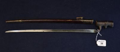 19th Century British socket bayonet with fullered triangular blade within leather brass fitted