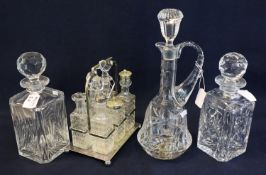 Collection of glass to include; a pair of square section decanters and stoppers, another single