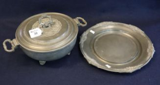French 'Les Potstaniers' pewter lidded two handled serving dish cover and stand. Base 28cm