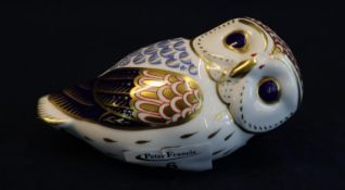 Royal Crown Derby bone china paperweight in the form of an owl with gold stopper. (B.P. 21% + VAT)