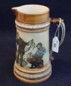 Mettlach Austrian stoneware jug continuously decorated with figures in interior, toping scenes,