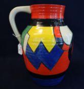 Clarice Cliff Newport pottery Bizarre range lotus jug with multi-coloured geometric decoration. 30cm