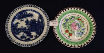Two Swansea pottery ribbon edged plates, one transfer printed with Chinese design figures on a