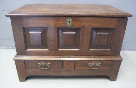 18TH CENTURY STYLE WELSH OAK COFFWR BACH having moulded top above three square fielded panels, the