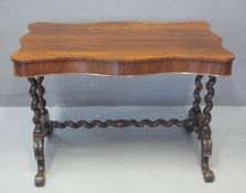 MID VICTORIAN ROSEWOOD STRETCHER TABLE having moulded and shaped top, above barley twist supports