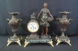 EARLY 20TH CENTURY SPELTER TWO TRAIN CLOCK GARNITURE SET, the clock in boudoir style with