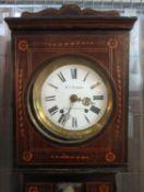 19TH CENTURY FRENCH INLAID MAHOGANY LONGCASE CLOCK marked W.J Richards, Swansea and Glanamman (
