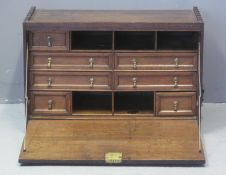UNUSUAL BASICALLY 18TH CENTURY OAK CAMPAIGN UPRIGHT SECRETAIRE A'abbant,possibly of maritime