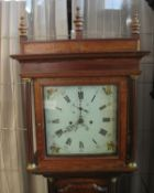 EARLY 19TH CENTURY WELSH OAK 8 DAY LONGCASE CLOCK of cottage proportions having flat hood with later