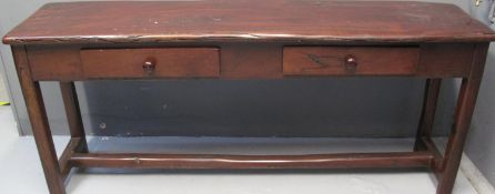MODERN SOUTH AFRICAN HARDWOOD DRESSER BASE, having moulded top above two fitted drawers with