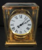 JAEGER LE COULTRE ATMOS CLOCK, Swiss made on a brass frame and base with glass panels, serial no. to