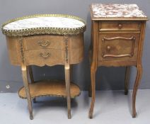 FRENCH MIXED WOODS AND INLAID KIDNEY SHAPED BEDSIDE CABINET having marble top and gilt metal gallery