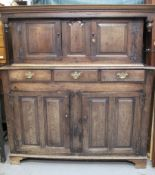 18TH CENTURY WELSH OAK DEUDDARN having moulded cornice flanked by two turned drop finials, two blind