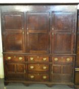 FINE LATE 18TH/EARLY 19TH CENTURY WELSH OAK TWO STAGE HOUSEKEEPERS CUPBOARD having moulded