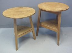 TWO TRADITIONAL WELSH PINE CRICKET TABLES with under tiers. 60cm diameter, 69cm high and 60cm
