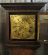 18TH CENTURY 8 DAY BRASS FACED SHROPSHIRE LONGCASE CLOCK marked 'Webster ,Salop', the case having
