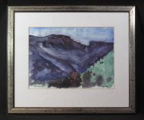 PETER DANIELS (British 20th Century), landscape with hills and trees, 'Langdale', signed and