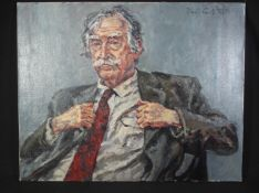 DAVID GRIFFITHS (Welsh born 1939), a striking portrait of Sir John 'Kyffin' Williams KBE, RA,