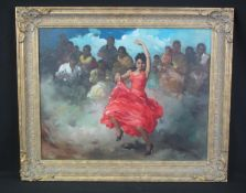 FRANCISCO RODRIGUEZ SANCHEZ CLEMENT (Spanish 1893-1968), Flamenco dancer in red dress with audience,
